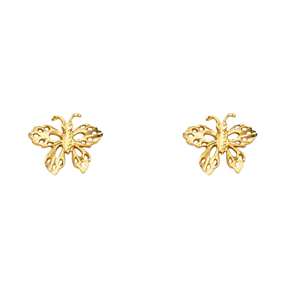 14k Yellow Gold Butterfly Diamond Cut Sud Earrings For Ladies Genuine 14k Yellow Gold New 8mm x 10mm