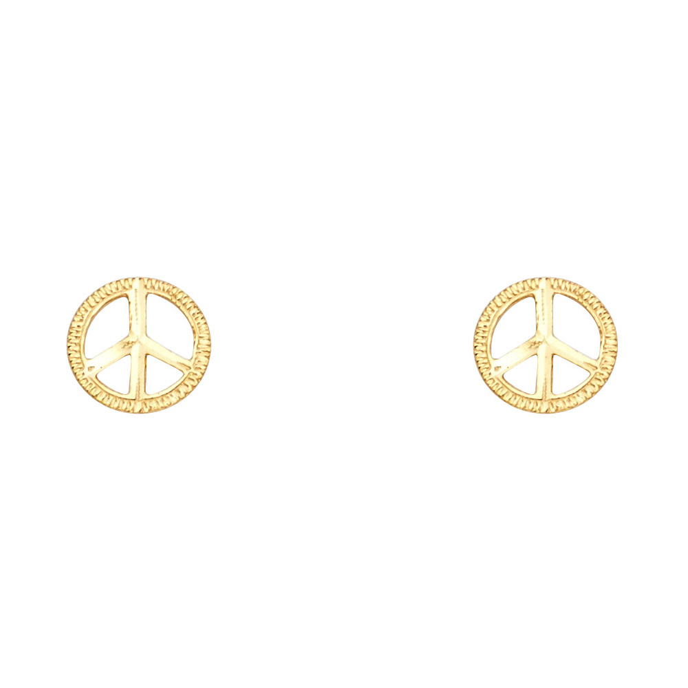 14k Yellow Gold Peace Symbol Studs Round Post Earrings For Ladies Genuine Fancy Fashion 8mm x 8mm