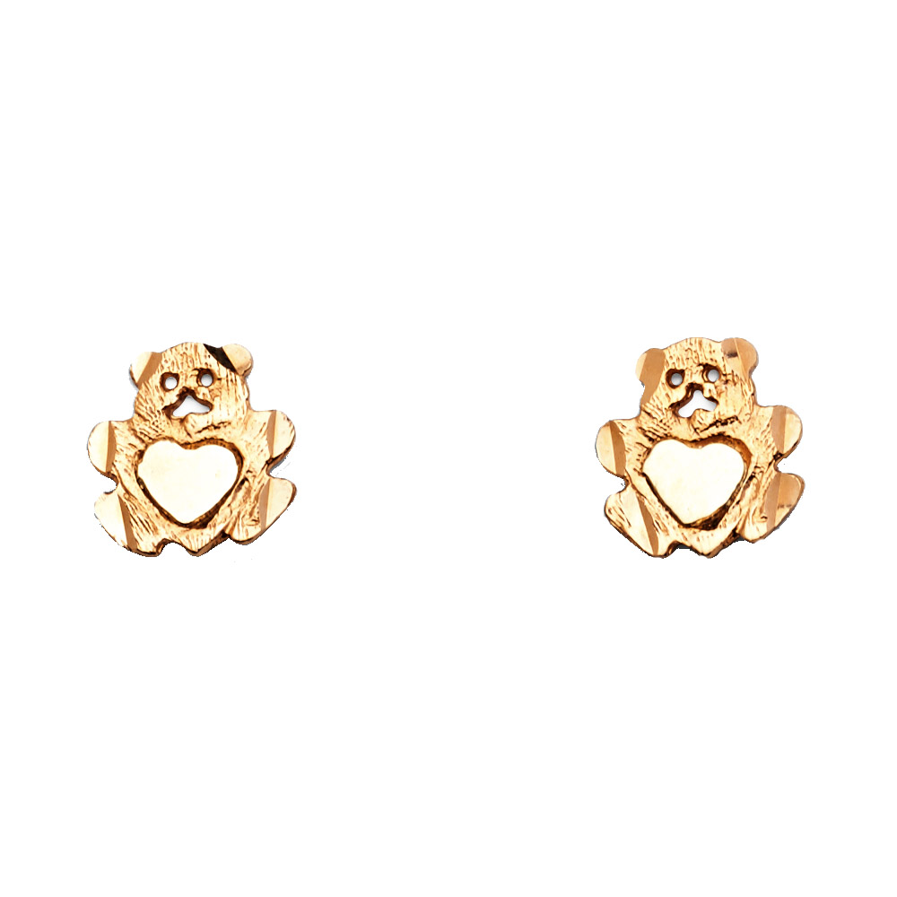 14k Rose Gold Bear Heart Post Stud Earrings Diamond Cut Polished Finish Fancy Fashion 10mm x 10mm