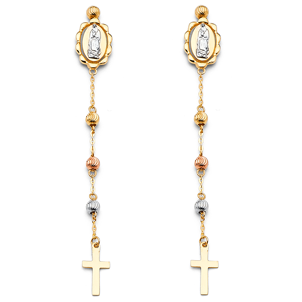 14k Tricolor Gold Religious Cross Lady Guadalupe Hanging Diamond Cut Earrings Fancy New 60mm x 5mm