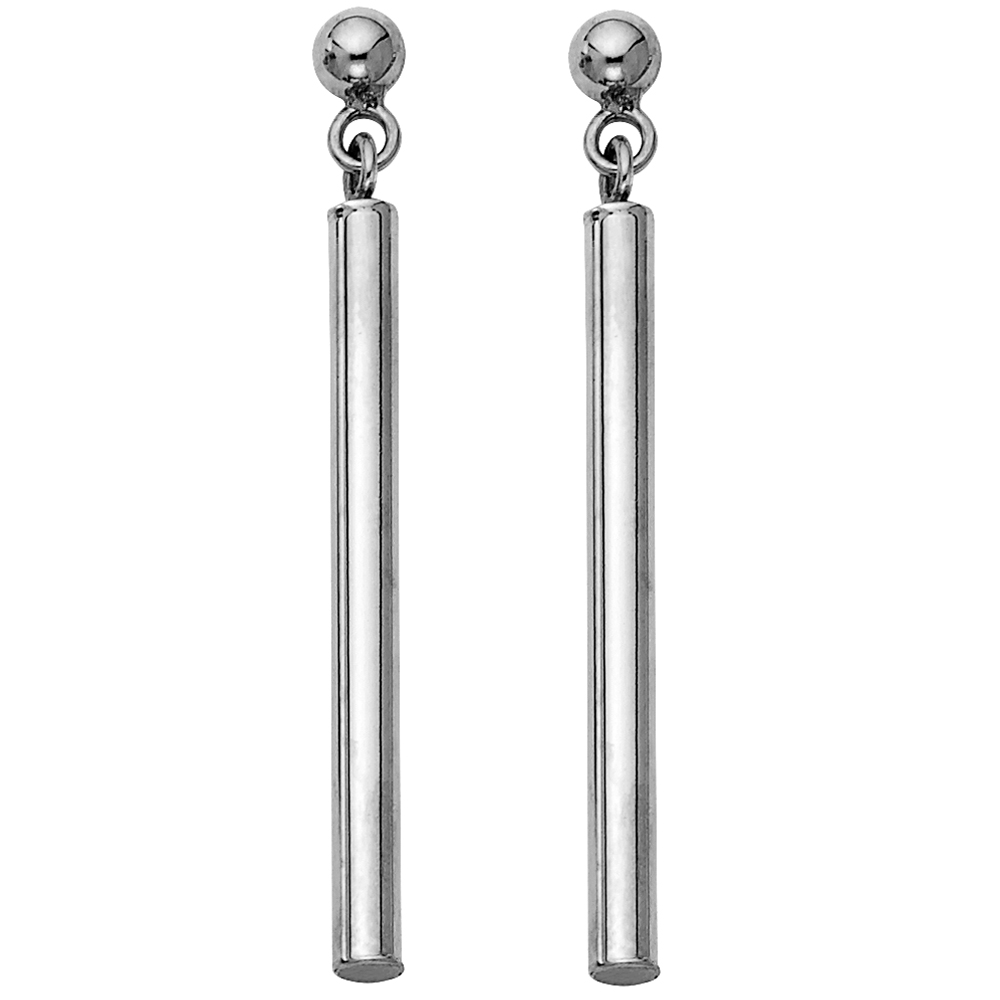 14k White Gold Round Bar Hanging Drop Earrings Polished Fancy Fashion Design Genuine 40mm x 2.5mm